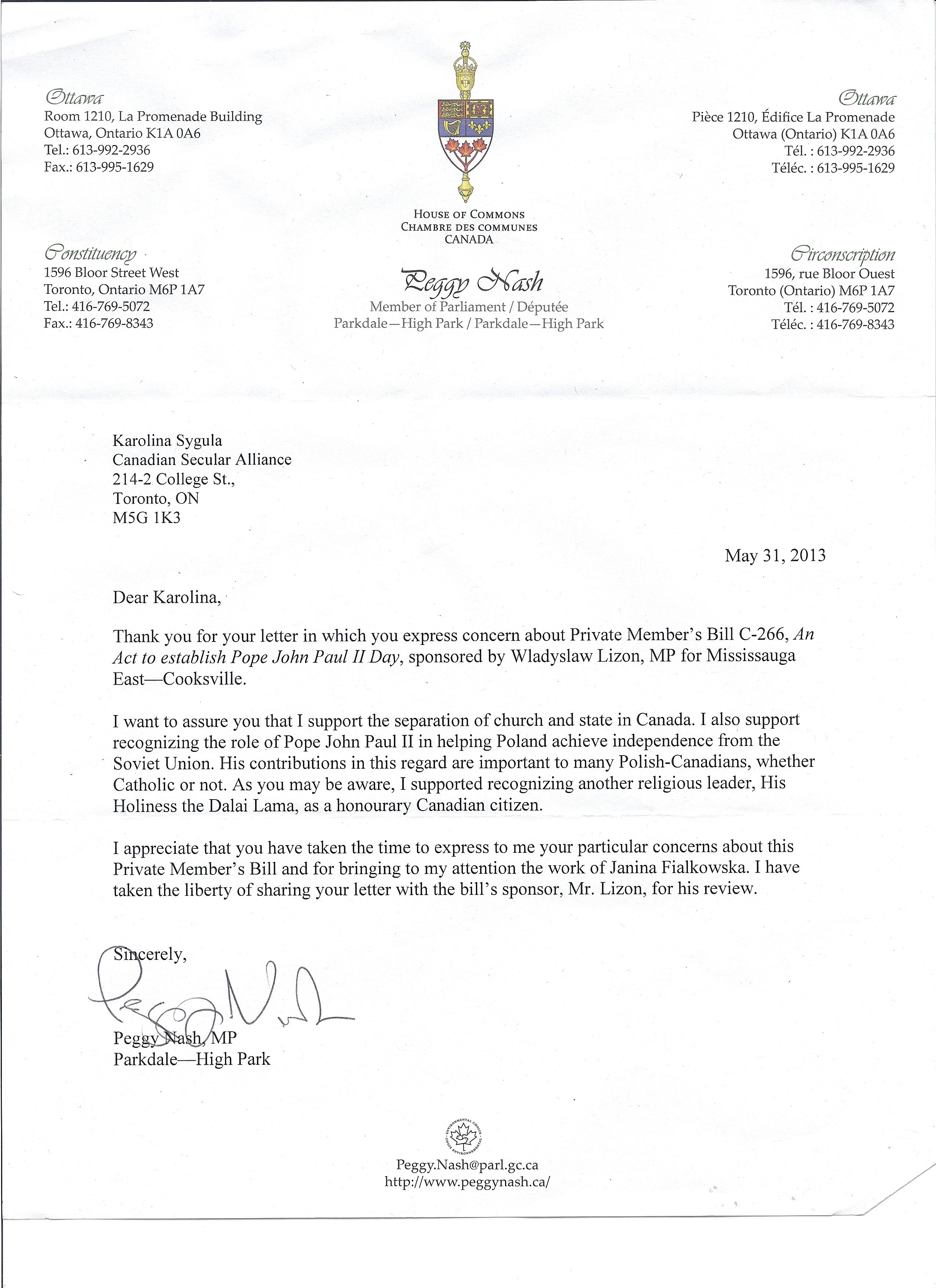 Csa sends letters expressing concern with bill to establish pope peggynashletter2 spiritdancerdesigns Images